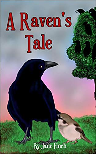 A Raven's Tale chapter book cover by Jane Finch picturing a black raven and small chickadee bird standing on the grass with a partial tree in the background against a blue/pink sky