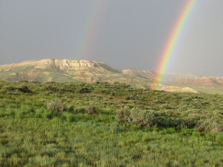 double rainbow on the butte at Wyoming's Fossil Butte National Monument: photo by john collins, courtesy of the National Park Service