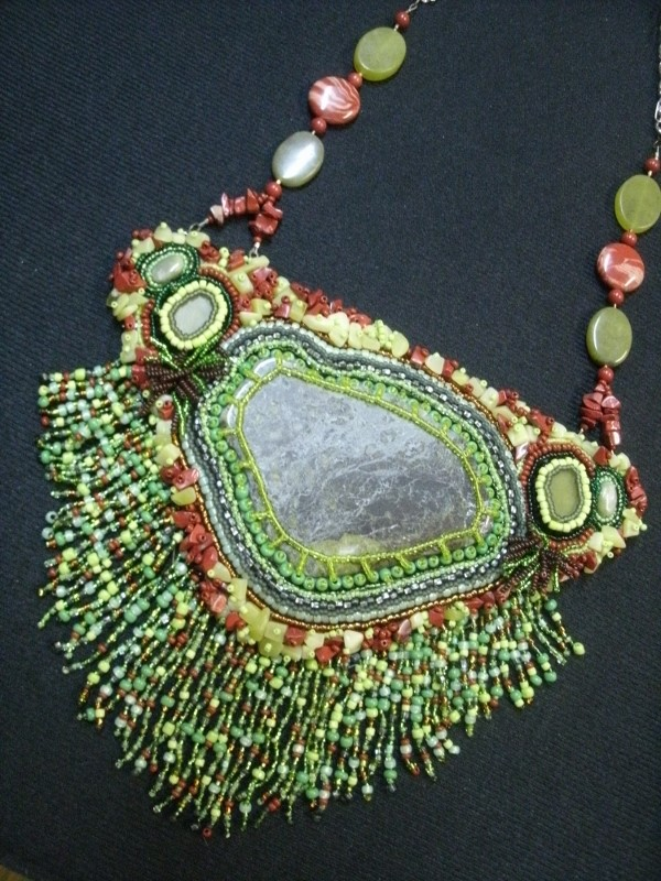 South of the Border, Bead encrusted Breas plate necklace.jpg